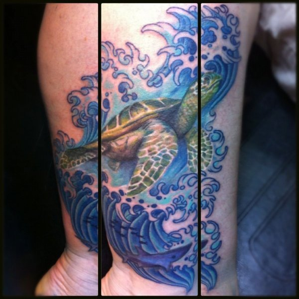 Realistic Sea Turtle Leg Sleeve Tattoos