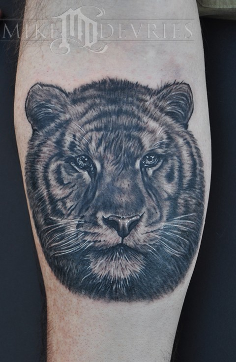 Realistic Tiger Face Tattoo