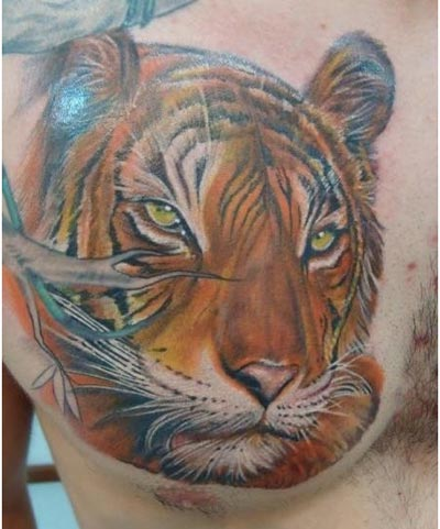 Realistic Tiger Head Tattoo For Chest