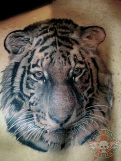 Realistic Tiger Head Tattoo For Men