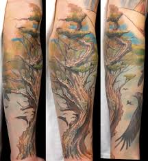 Realistic Tree Sleeve Tattoos