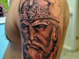 Realistic Viking Face Tattoo For Men