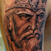 Realistic Viking Warrior Face Tattoo