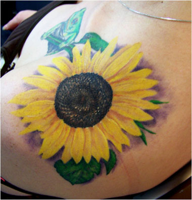 Realistic Yellow Sunflower Tattoo For Girls