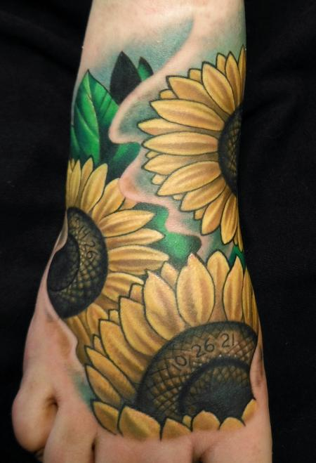 Realistic Yellow Sunflower Tattoos On Foot