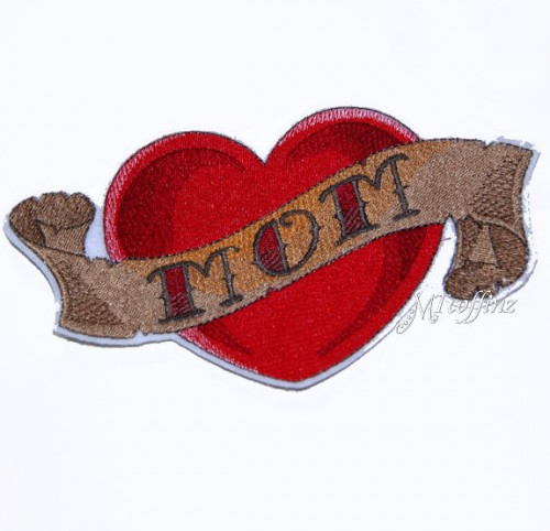 Red Heart With Mom Banner Tattoo Design