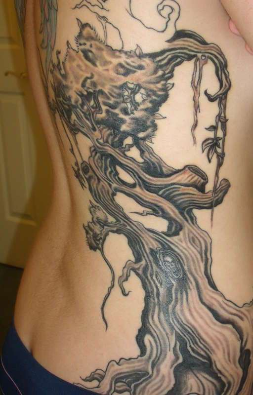 Rib Side Tree Tattoo
