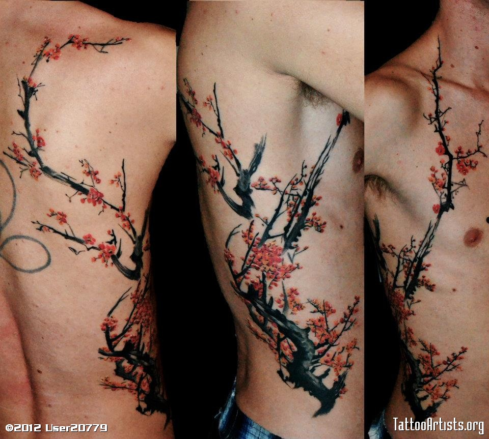 Rib Side Tree Tattoos For Men