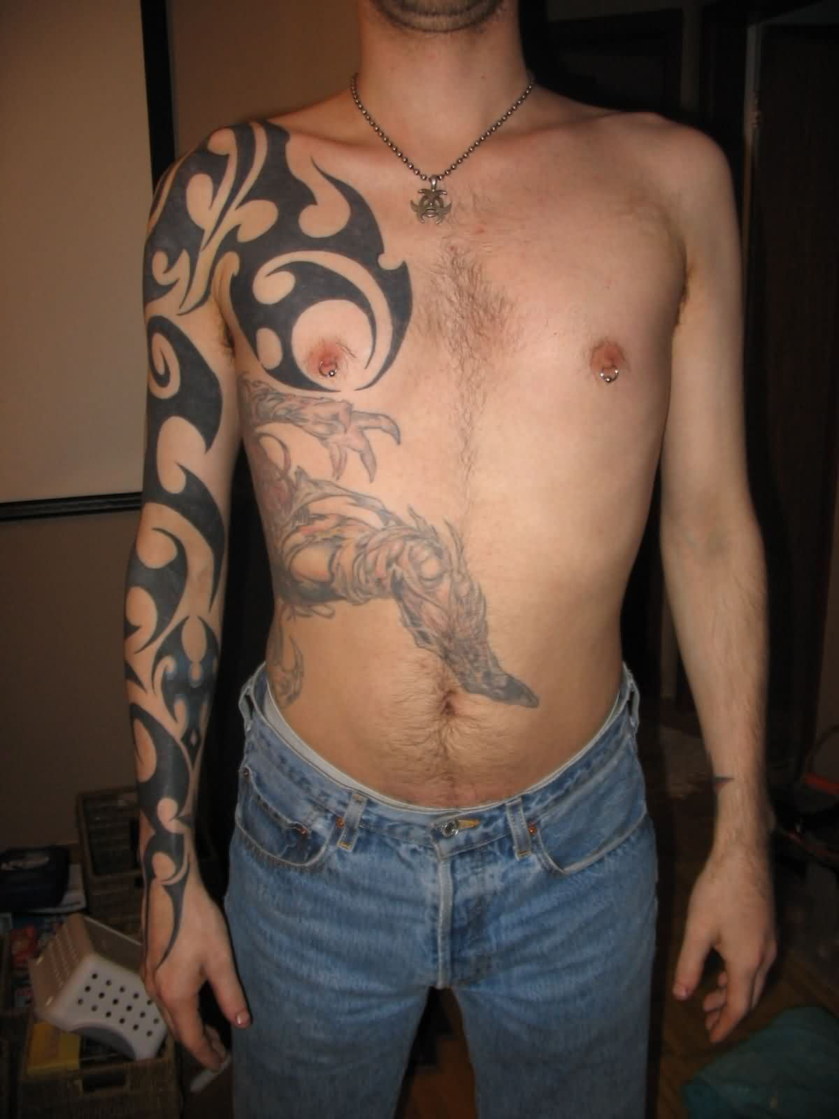 Right Full Sleeve Tribal Tattoos For Guys