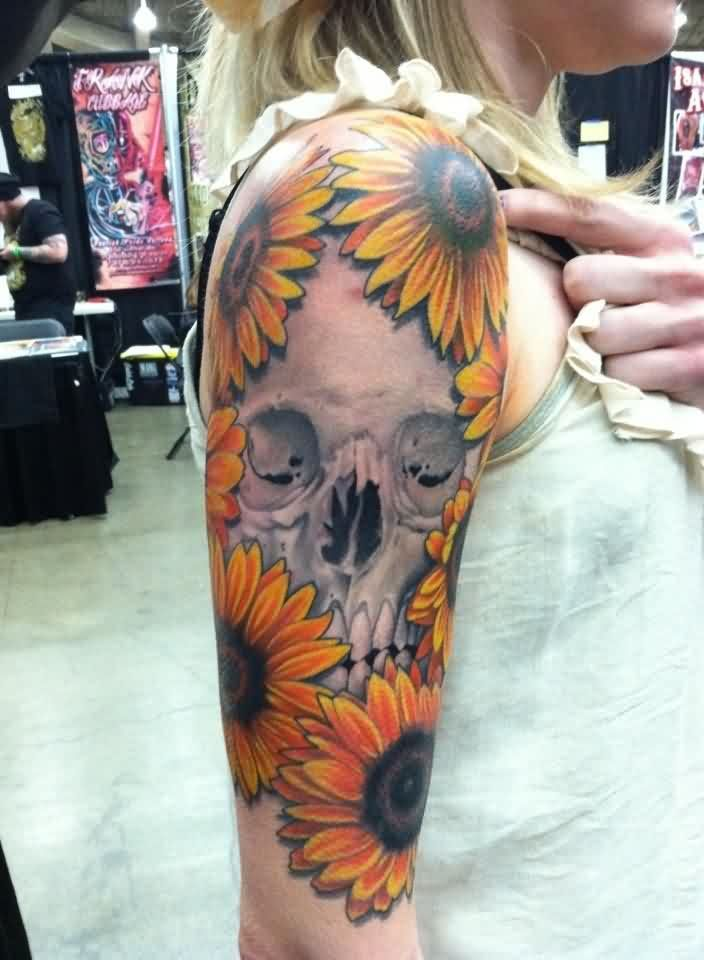 Right Half Sleeve Sunflower And Skull Tattoos