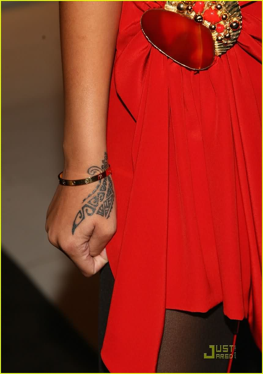 Rihanna Tribal Hand Tattoo Design