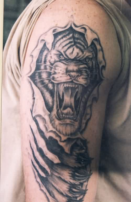 Ripped Skin Angry Tiger Tattoo For Arm