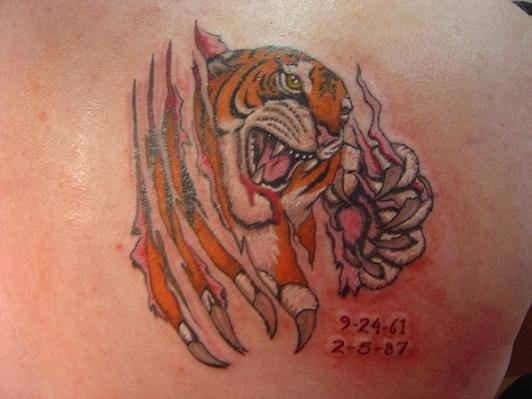 Ripped Skin Angry Tiger Tattoo For Men