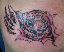 Ripped Skin Tiger Tattoo