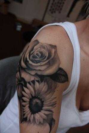 Rose And Sunflower Tattoos On Biceps