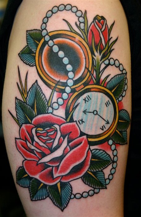 Roses  And Clock Traditional Tattoos