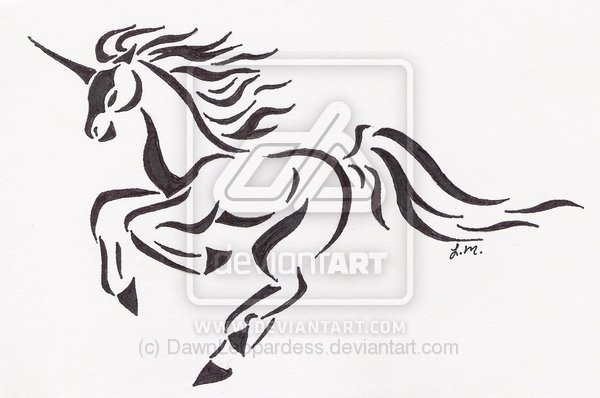 Running Unicorn Tattoo Design