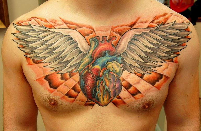 Sacred Heart Traditional Chest Piece Tattoo