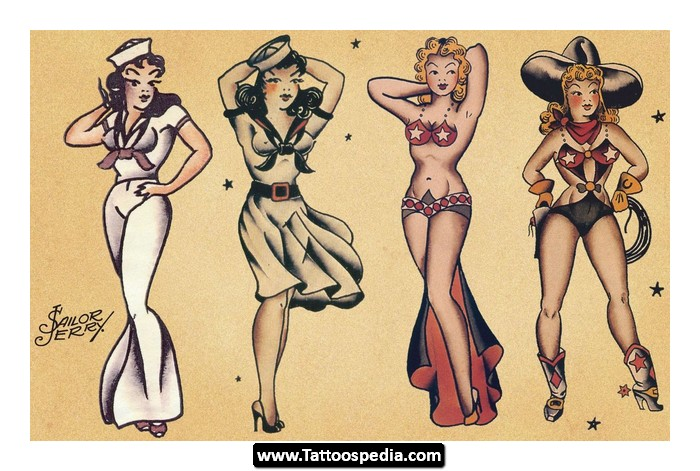 Sailor Jerry Pin Up Traditional Tattoo Sheet