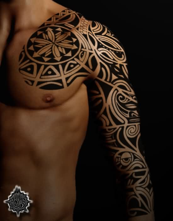 Samoan Tribal Chest And Left Sleeve Tattoos