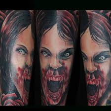 Scary Vampire Girl Sleeve Tattoos