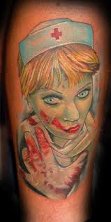 Scary Vampire Nurse Tattoo