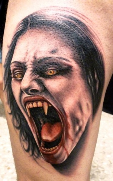 Screaming Vampire Face Tattoo For Leg