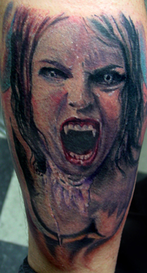 Screaming Vampire Girl Color Tattoo