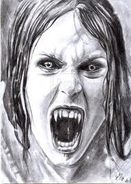 Screaming Vampire Girl Tattoo Sketch