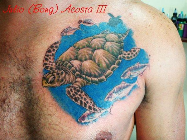 Sea Turtle And Fishes Tattoos On Chest