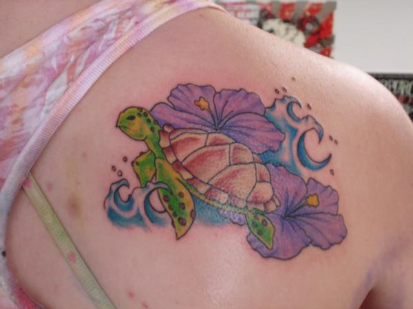 Sea Turtle And Flowers Tattoos On Back Shoulder