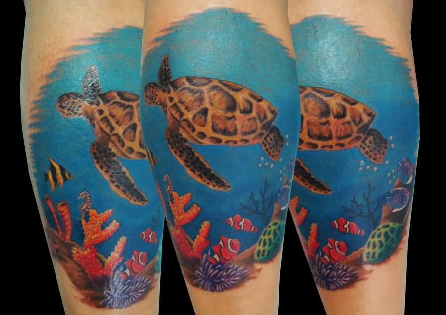 Sea Turtle Leg Sleeve Tattoos