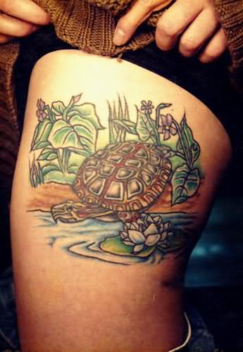 Sea Turtle Lotus Tattoos On Thigh