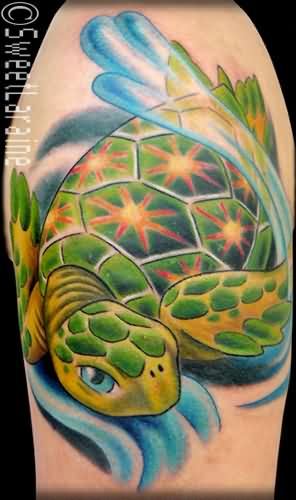 Sea Turtle Tattoo For Biceps