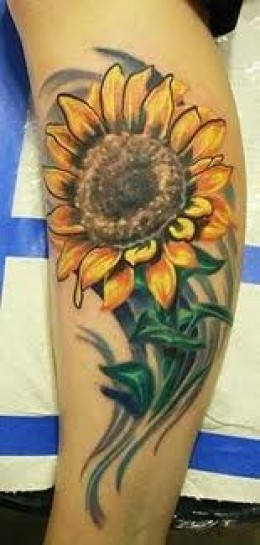 Sensational Sunflower Tattoo For Leg