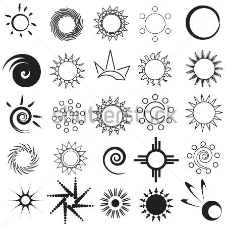 Set Of Abstract Sun Tattoo Designs