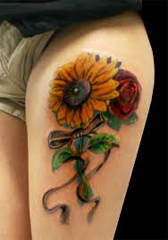 Sexy Sunflower And Rose Tattoos On Thigh