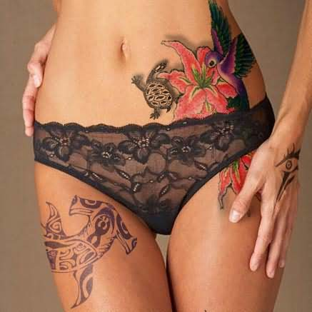 Sexy Turtle Flower And Bird Tattoos On Waist