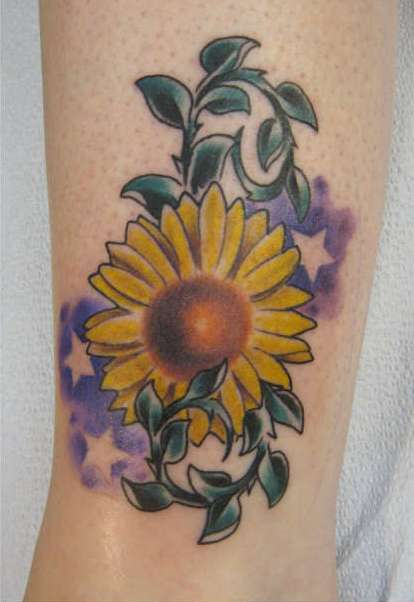 Shaded Stars And Sunflower Tattoos