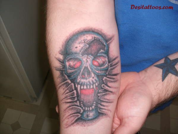 Shouting Vampire Skull Tattoo On Lower Arm