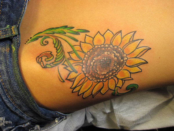 Side Waist Yellow Sunflower Tattoos