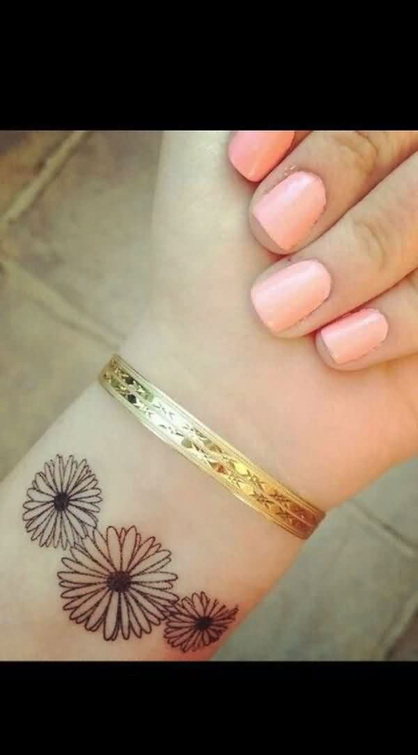 Simple Sunflower Tattoos On Wrist