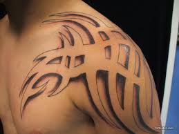 Simple Tribal Tattoo On Shoulder For Men