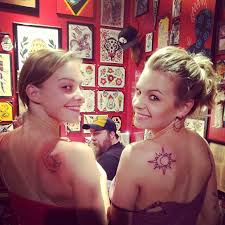 Sister's Back Shoulder Sun Tattoos