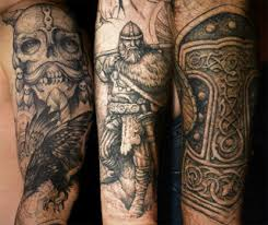 Skull Bird Viking Warrior And Thor Hammer Tattoos