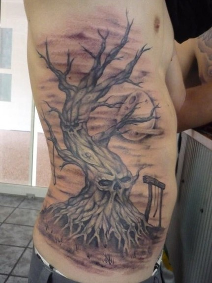 Skull Tree Rib Side Tattoo