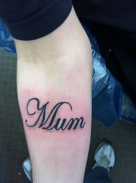 Small Mum Word Tattoo On Forearm