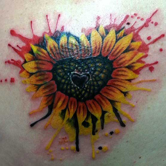 Smashed Heart And Sunflower Tattoo