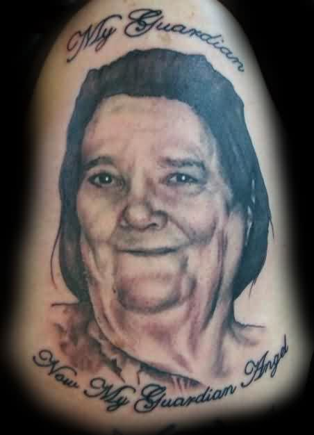 Smiling Mother Portrait Tattoo