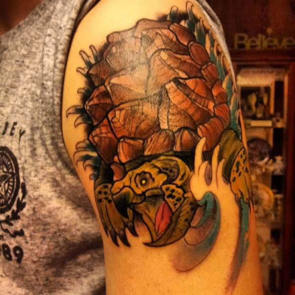 Snapping Turtle Tattoo On Biceps